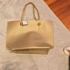 Macys Gold Pebbled Faux Leather Tote Bag Handbag
